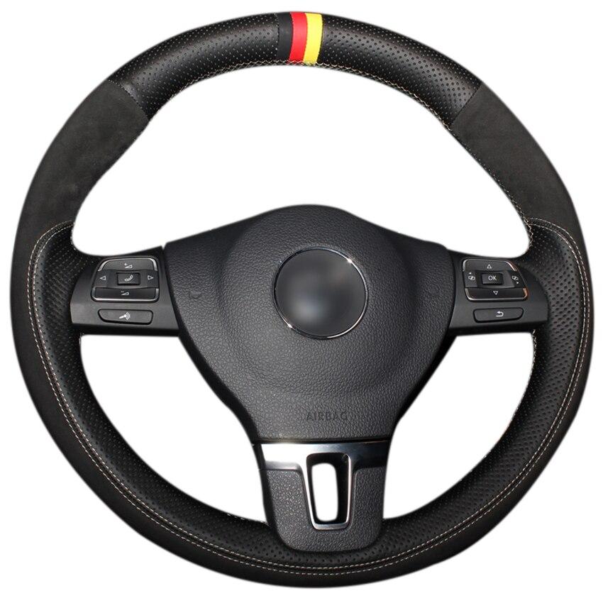 Black Genuine Leather Black Suede Steering Wheel Cover for Volkswagen VW Gol Tiguan Passat B7 Passat CC Touran Jetta Mk6