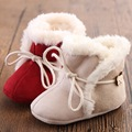 New design red warm winter girl cotton boot Baby Mocassins shoe toddler kid child First Walker soft booties hard sole rubber