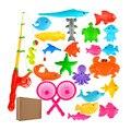 1 conjunto de Brinquedos De Pesca Magnética 21 Peixes Com Haste de Plástico Modelo Brinquedos Educativos Para Crianças S25