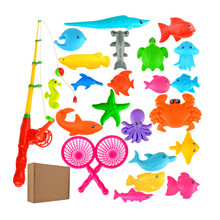 Fishes model rod educational magnetic plastic toys toy kids fishing with