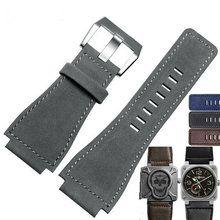34mm*24mm New Men Lady Grey Blue Brown Wrist Watch Band Genuine Leather 3mm Thick Strap Belt Silver Black Pin Tongue Buckle stylish lady wrist watch black strap