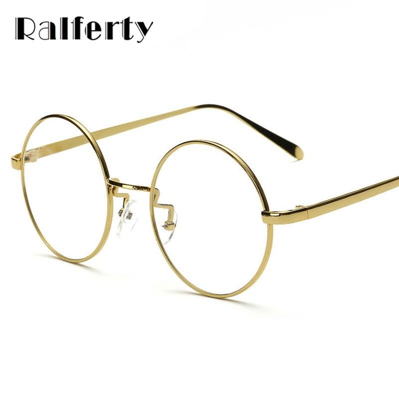6ce4835fa Ralferty المتضخم الكورية نظارات دائرية إطار واضح عدسة النساء الرجال الرجعية  الذهب النظارات البصرية إطار نظارات خمر نظارات