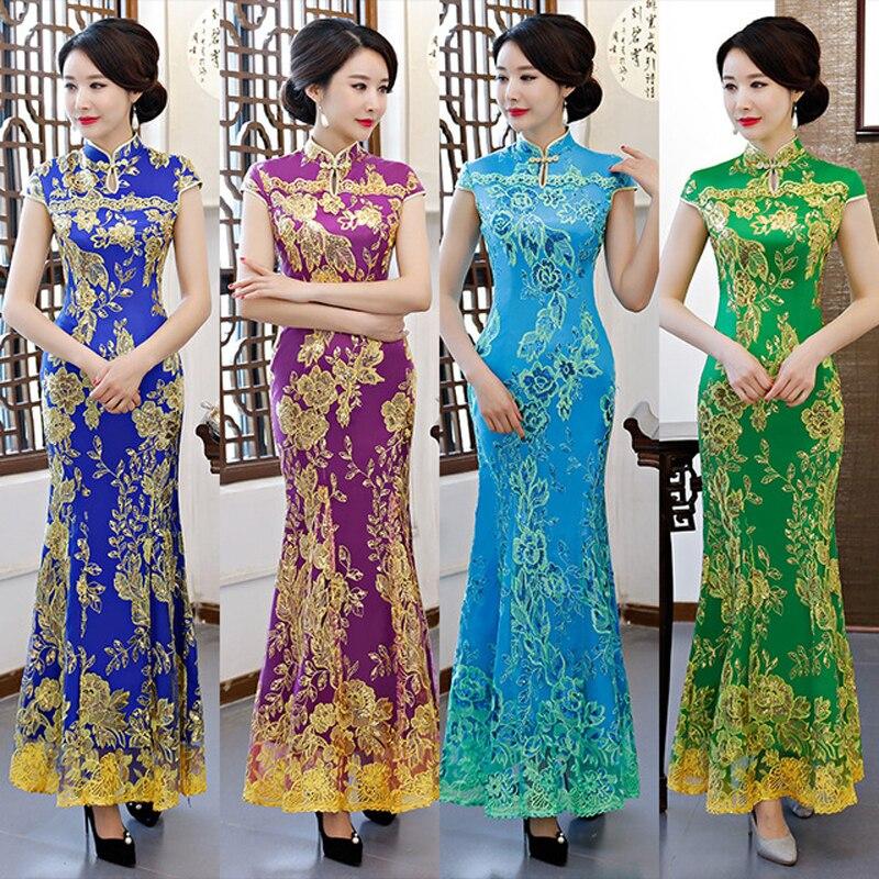 Grande taille 6XL Vintage Cheongsam longue nationale chinoise robe formelle femmes broderie traditionnelle robe de soirée modèle Qipao