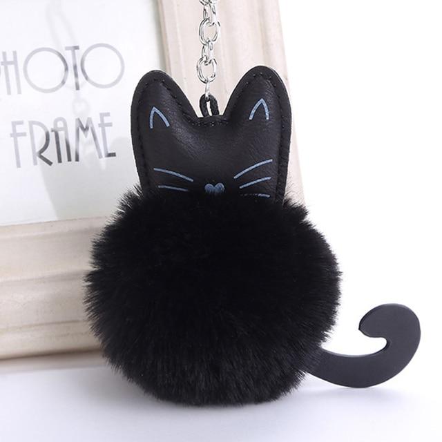 4 Color Cute Fluffy Black Cat Keychain Kitty Rabbit Fur Ball Key Chain Bag  Chaveiro Women Key Ring Holder Handbag Charm Pendant 9e913a4c61832