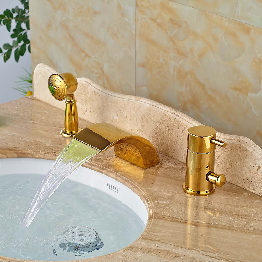 LED Waterfall Bathtub Mixer Faucet 3pcs Widespread Bathroom Tub Filler with Handshower tomato paste filler with mixer