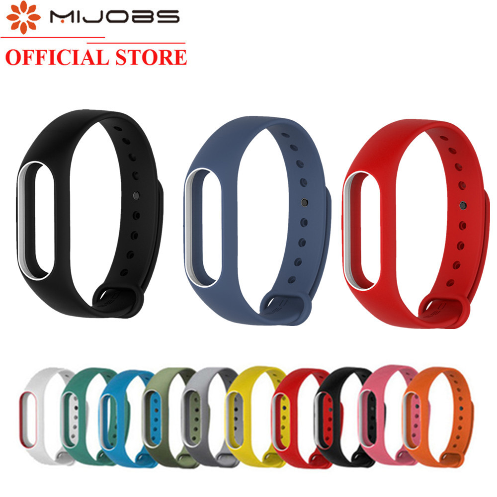 Mijobs Mi Band 2 Strap Silicone Strap Bracelet Wristband Smart Band Accessories Wrist Strap Xiomi For Xiaomi Mi Band2 Film Black