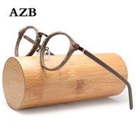 Women Retro Round Prescription Eyeglasses Frames For Men and Women Wood Grain Myopia Optical Glasses Frame with Clear Lens