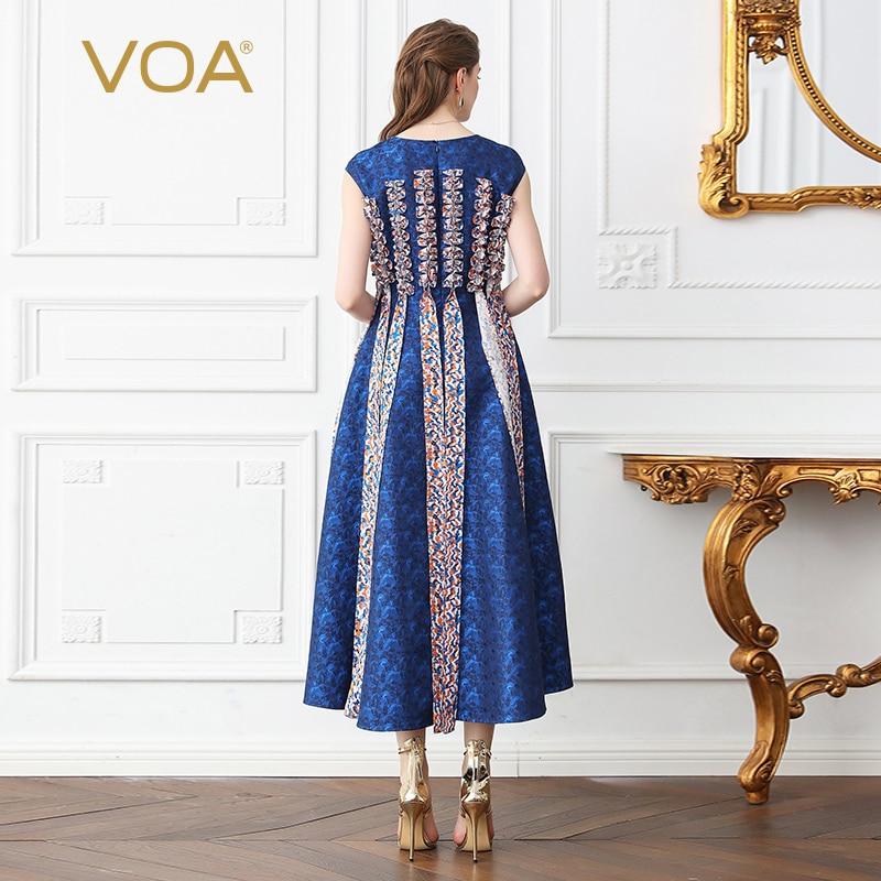 5xl A599 Robe Jacquard Soie Haute Trapèze D'été Bleu Robes Longue Imprimer Plus Maxi Vintage Femmes Partie Slim Voa Taille xUAwq5dnPx