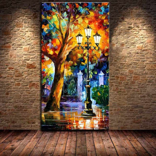 100 Hand Drawn City At Night Knife Painting On Canvas Modern Living Room