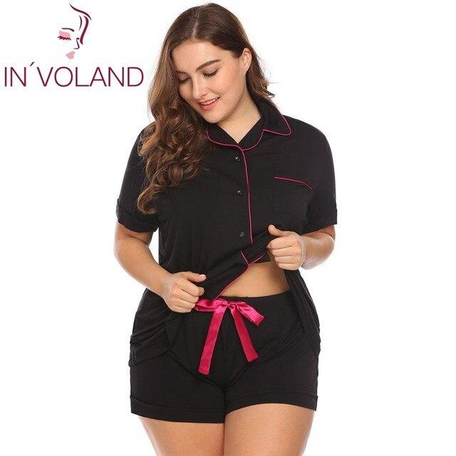 INVOLAND Frauen Pyjama Set Größe xl 5xl Nachtwäsche Revers Kurzarm Taste Bogen Hemd Shorts Große Lounge Plus Größe