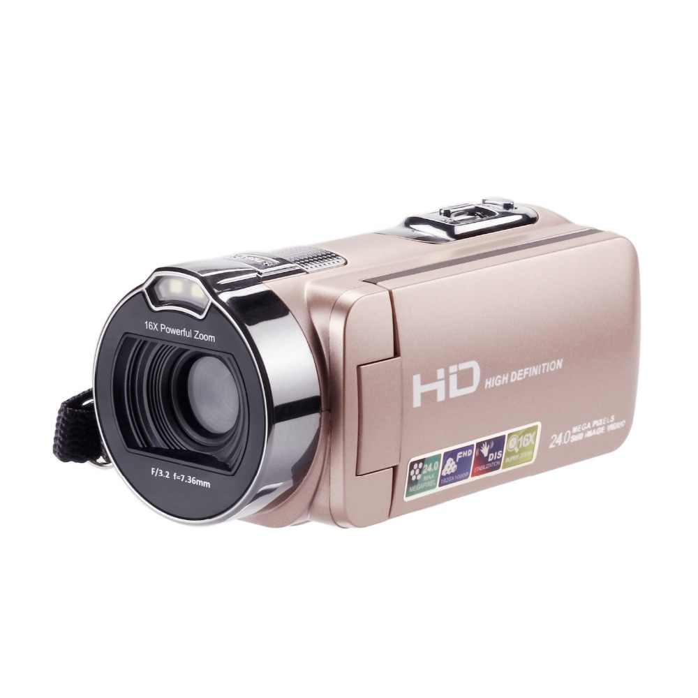 HDV-312P HD Digital Photo Camera 16X 24MP 720P Professional Digital Camcorders 2.7 inch TFT Rotation Screen with LED Fill Light