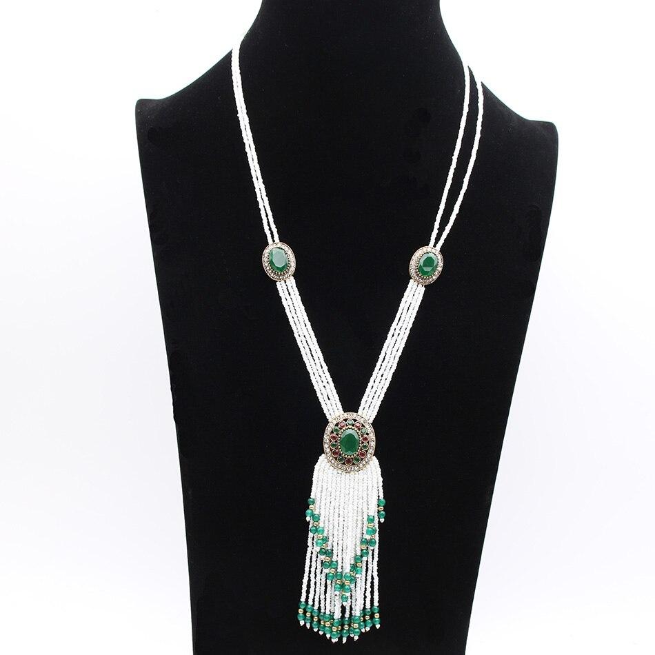 108041104251 Moda de lujo de doble nivel con cuentas borla collar vintage turco mujeres  gota de agua joyería pendiente redonda Navidad Festival regalo