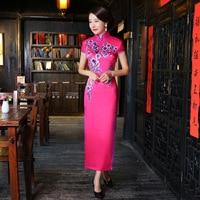2017 Sexy Cheongsam Długo Qipao Tradycyjny Chiński Strój Nowoczesne Suknia Ślubna Red Oriental Style Suknie Tradicional Chino