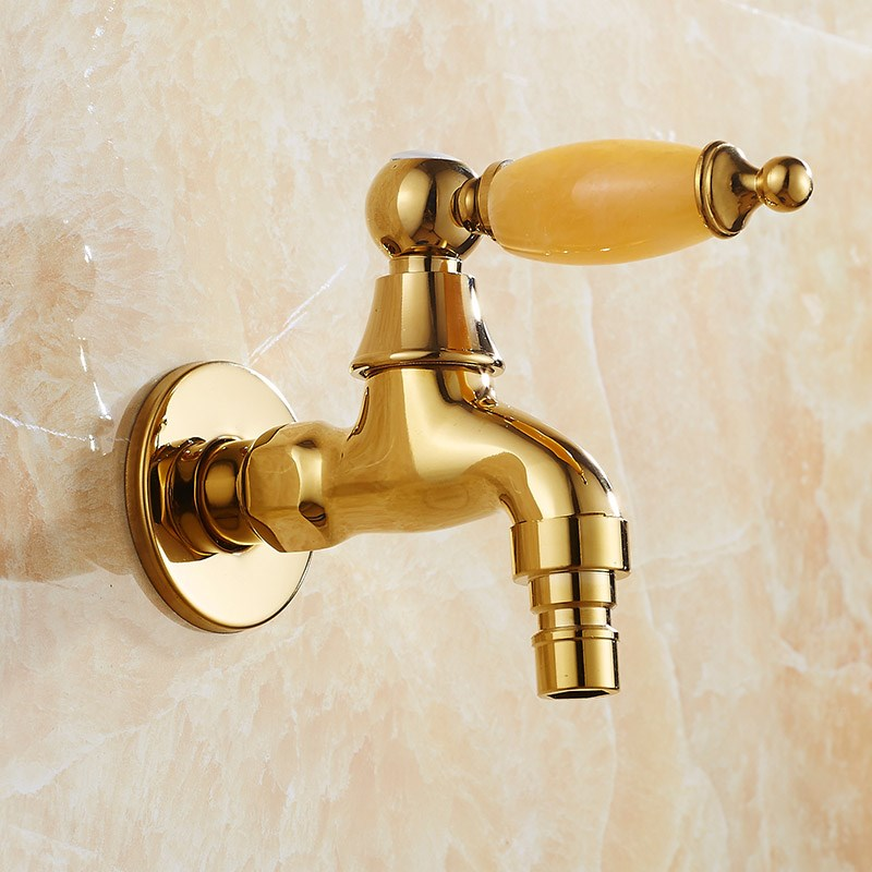 Brass Gold Finished Bibcock Faucet Cold Tap Toilet Bibcock Copper Bibcock Tap Luxury Garden faucet in Bibcocks from Home Improvement