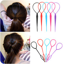 2 Pcs/Set Plastic Hair Loop Styling Tool Ponytail Braid Maker Loop Pull Hair Needle For Women Girls DIY Hairstyles Magic Clip(China)