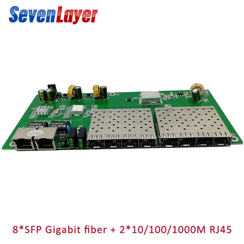 10/100/1000M  8 SFP 2 RJ45 Gigabit Ethernet Switch PCBA Board Fiber Optical Media Converter  8 Port 1.25G SFP