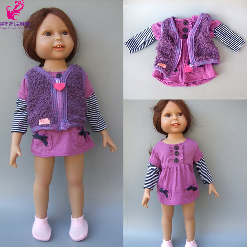 2 in 1 Doll Clothes for 18 American Girl doll dress + vest for 45 cm doll 9 colors american girl doll dress 18 inch doll clothes and accessories dresses