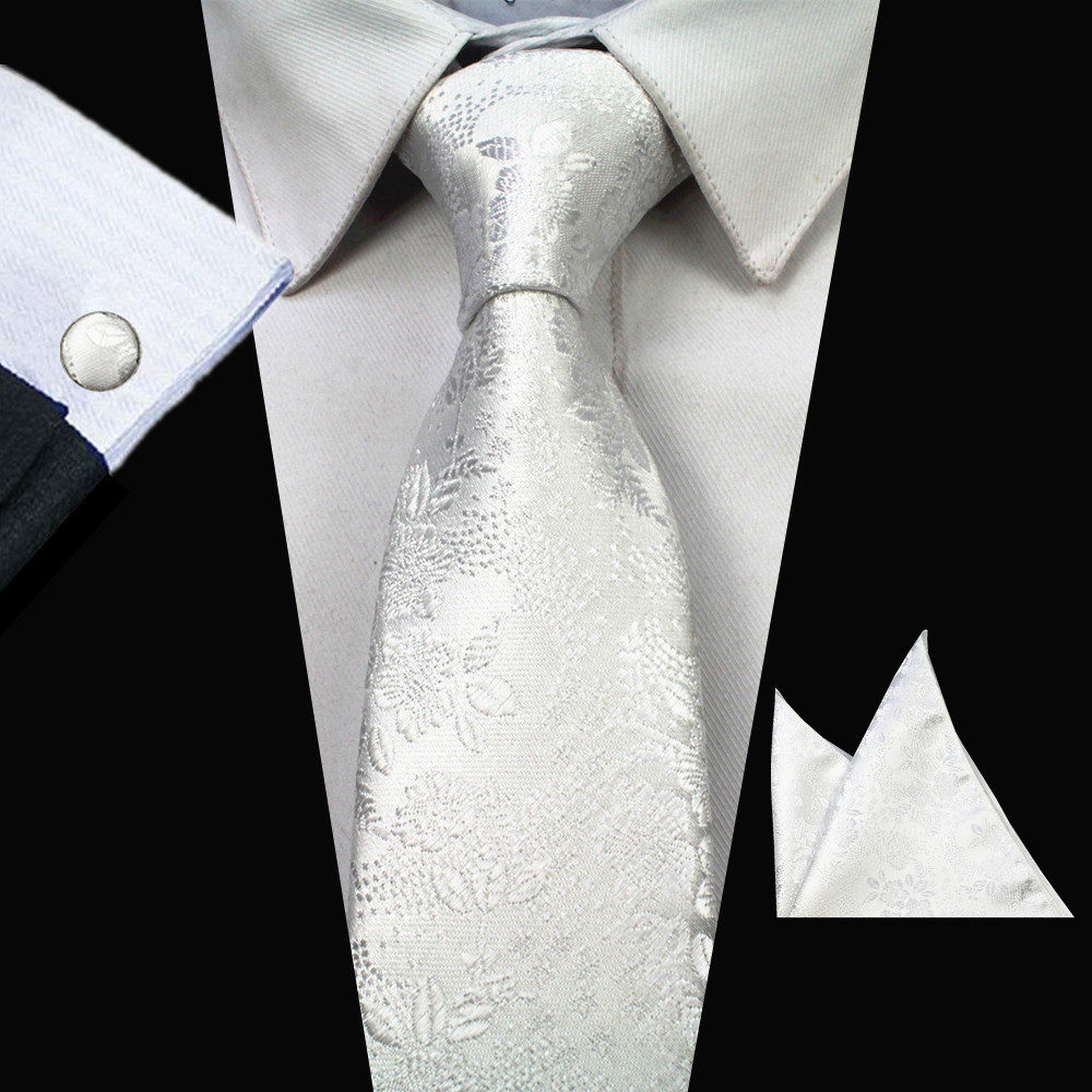 Blue Corn Flower Blue Grey Dot Classic Silk Necktie Tie Hanky and Cufflinks Set For Men