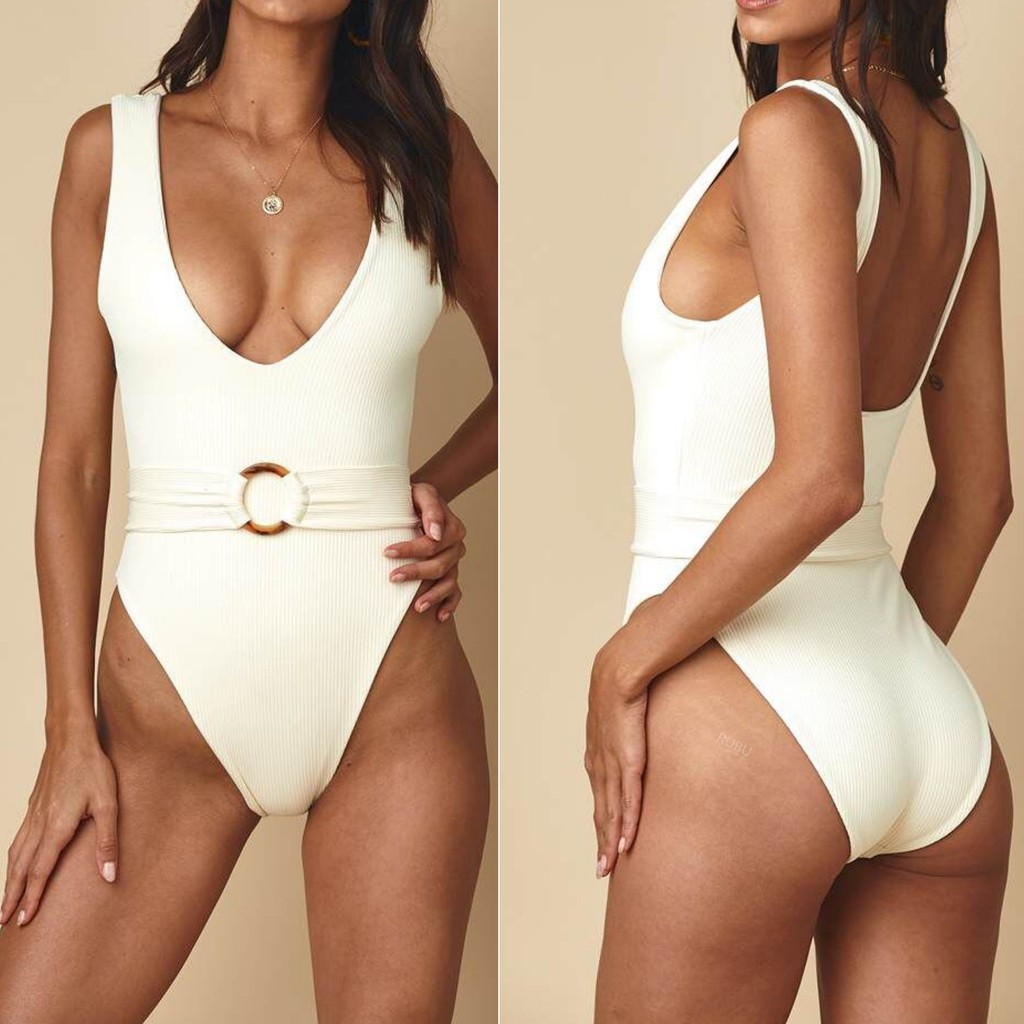 Bikinis 2020 mujer Women V-Neck Solid Color Jumpsuit Push-Up Beach  Bandage Bikini One Piece Cover-ups купальник Biquini bathers 1