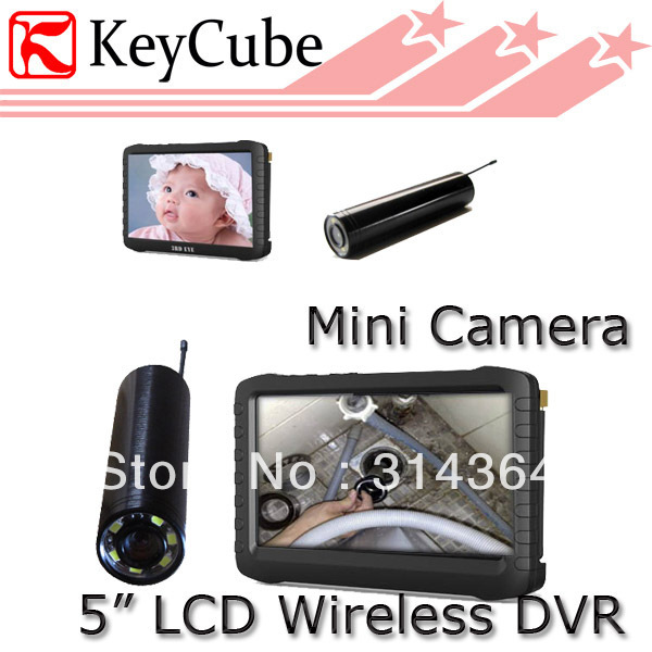 2.4G 8channel Monitor Wireless Inspection Pipe Camera With 5-Inch LCD HD Mini DVR Receiver--TE810H Loop Recording Free Shipping boscam dv01s fpv 8 channel 5 8g wireless receiver dvr wireless audio