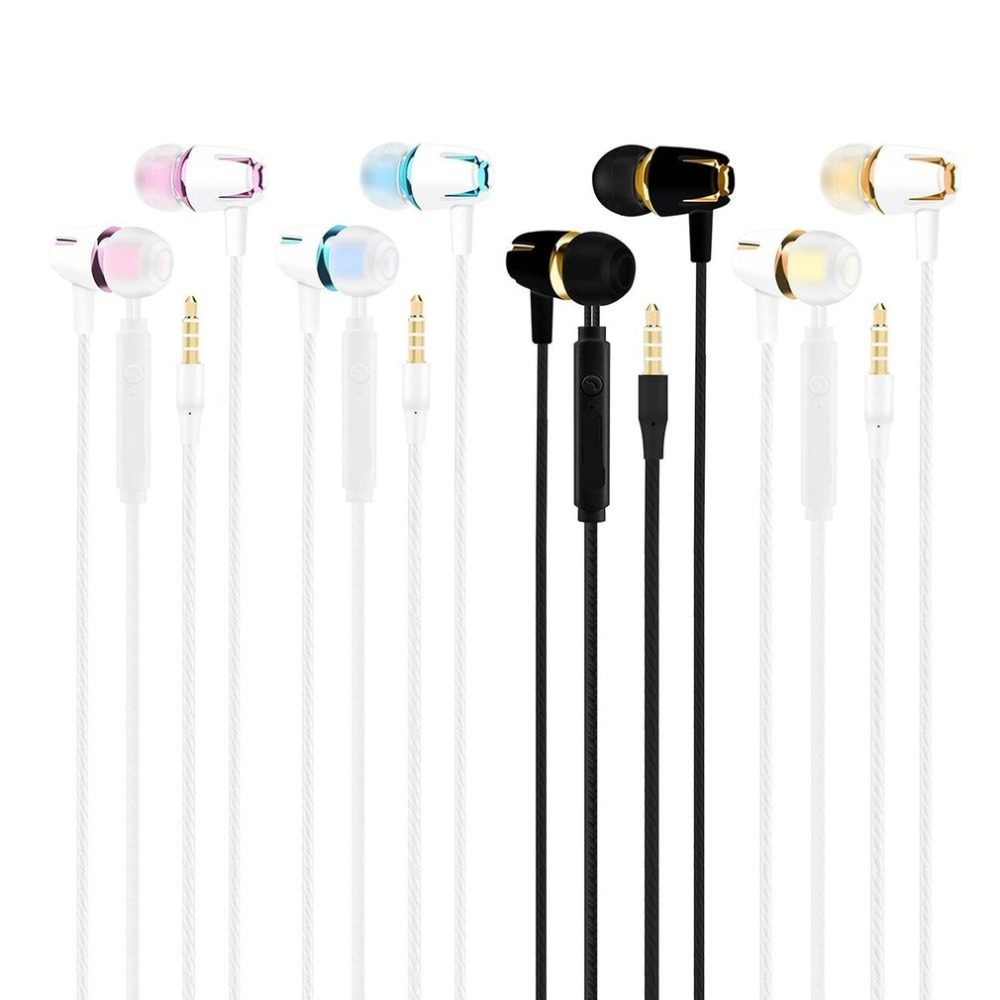 Wired Stereo In-ear Headphone colorful  with Mic Earphone Electroplating Bass Handsfree Call Phone Earphone for Samsung huawei