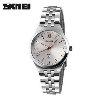 fb824d14383a Relojes Mujer marca de lujo skmei cuarzo relojes del deporte de la manera  del acero inoxidable reloj Relogio feminino