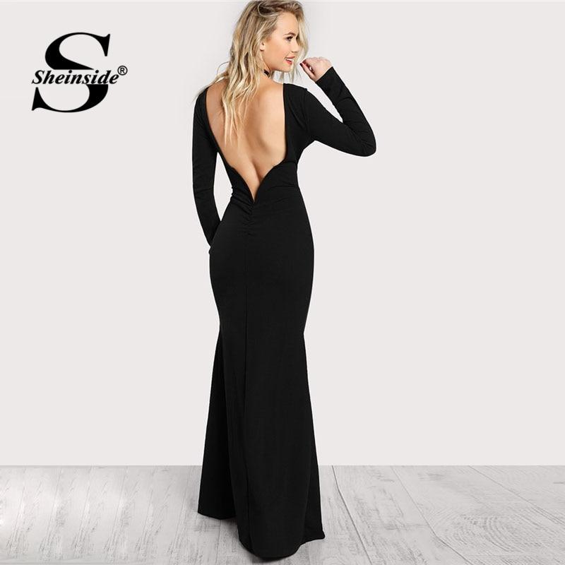 Sheinside Black Long Sleeve Open Back