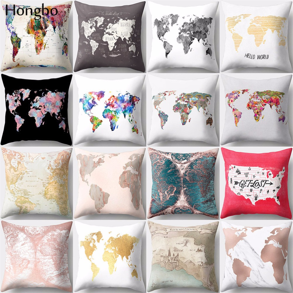 Hongbo 1 Pcs Vintage Colorful World Map Style Pattern Cushion Cover Polyester Pillow Case Home Decor For Car Sofa