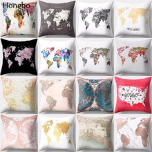 Cushion-Cover Pillow-Case World-Map-Style Vintage Colorful Sofa Home-Decor Polyester