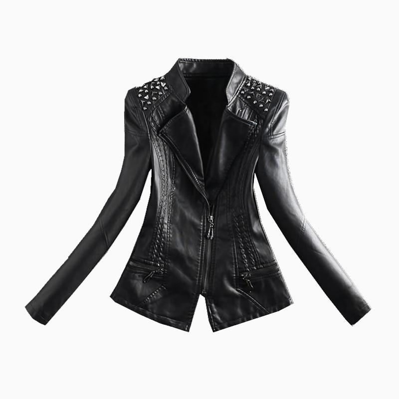 Collier Femmes Stand Manteau Coréenne M En 4xl Mince Moto Courtes Printemps Perles Rivets rouge Beige noir Cuir Automne 2018 De Vestes Pu W1548 Veste YfxXWdqXwn
