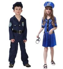 Children Halloween Performance Costumes Kids Valiant Handsome Policemen Costume Police Cosplay Clothes Boy Girl Party Dress Up
