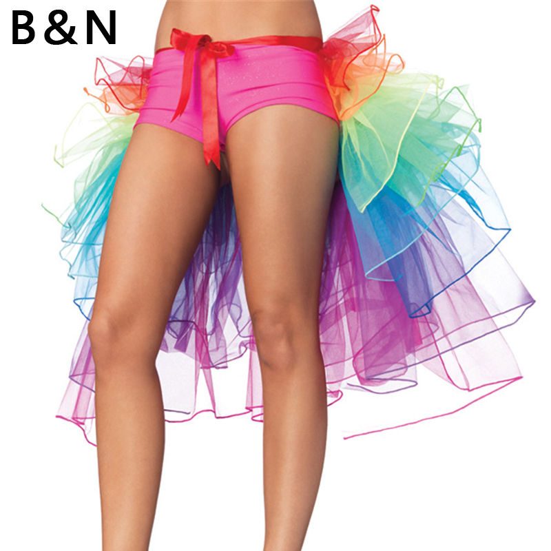 B&N Unicorn Skirt Rainbow Tail Costume Women Lady TUTU Adult Petticoat Tulle Ballet Ribbon Party Pettiskirt Custom 8 Layer 60 cm