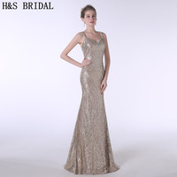 H S BRIDAL Sweetheart Crystal Beaded Sequins Mermaid Evening Dress With Straps Prom Dresses 2017 Robe