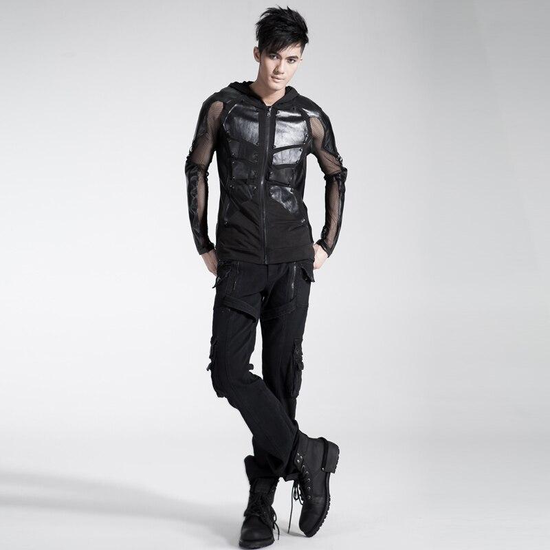 2018 hommes personnalité Punk sac à double fermeture éclair pantalon Rivet ample salopette noir avec ceinture chaussures décontractées pour homme - 4