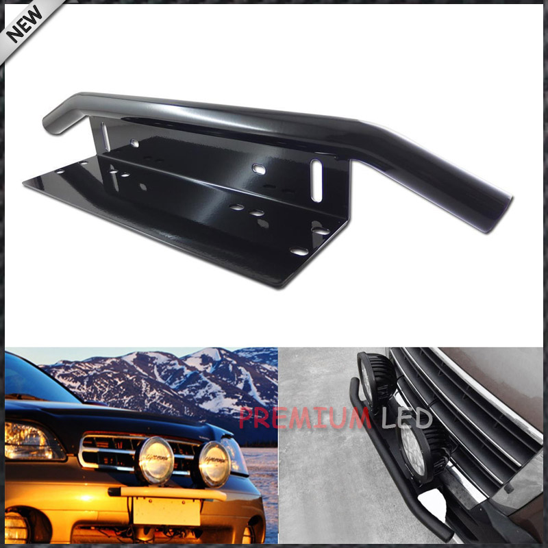1pc Bull Bar Style Front Bumper License Plate Mount Bracket Holder For Off Road Lights, LED Work Lamps (Black, Universal Fit)