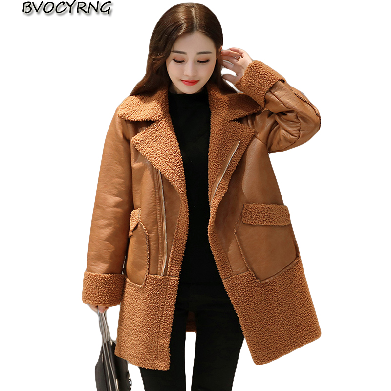 2017New Faux   Leather   Jacket Women Winter Fur Coat Thicken Wool Warm Outerwear Fashion Girls Medidum Style Loose Fur Coat A0055