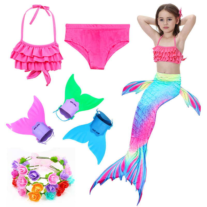 Kids Mermaid Swimsuit Girls Bikini Set Children's Mermaid Costume Tails Fin Bathing Suit Summer Beach Dress Swimming Cosplay