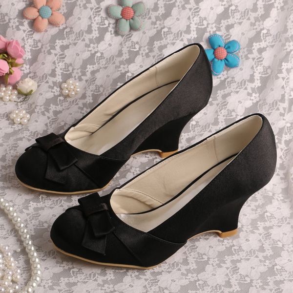 5e66f96abffd Wedopus Women Fancy Wedge Heel Shoes Black Satin Bow Pumps Dropshipping-in  Women s Pumps from Shoes on Aliexpress.com