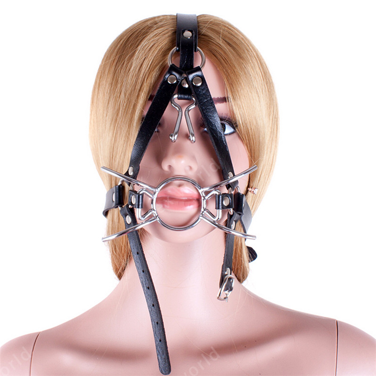 OPEN DEEP Mouth Gag throat head strap p leather Stainless steel dual ring black
