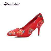 Wedding Women Shoes Red Ethnic Silk Thin High Heel Wedding Party Shoes Ladies Plus Size 34 40 Shallow Pointed Toe Fashion Pumps