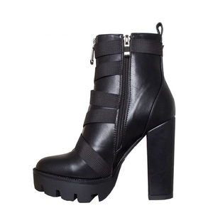 Image 5 - Perixir Black Boots Women 2020 Spring Fashion Heel Autumn Lace up Soft Leather Platform Shoes Woman Party Ankle Boots High Heels