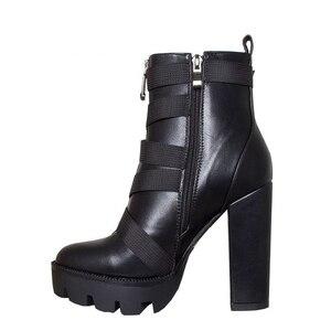 Image 5 - Perixir Zwarte Laarzen Vrouwen 2020 Lente Mode Hak Herfst Lace Up Zacht Leer Platform Schoenen Vrouw Party Enkellaarsjes hoge Hakken