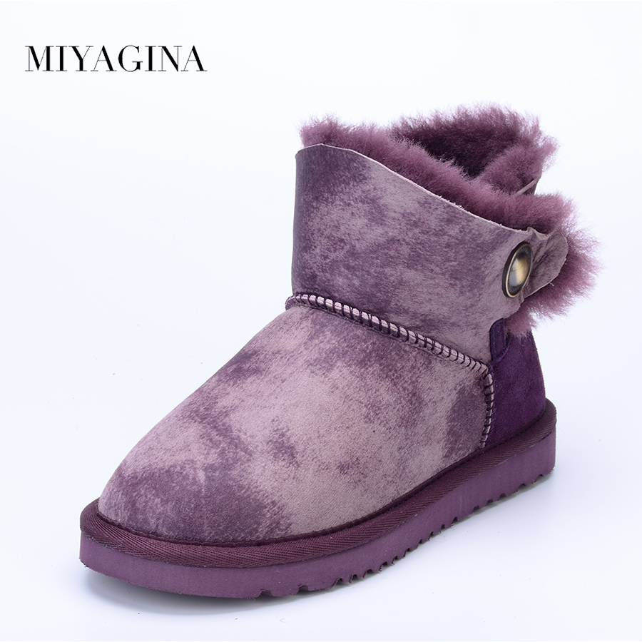 MIYAGINA Women Shoes 100% Genuine Sheepskin Leather Women Boots Natural Fur Winter Boots Warm Wool Snow Boots Winter Ankle Shoes