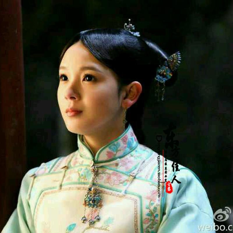 Republican Period TV Play Monster Killer Wu Xin Fa Shi Actress Same Design Blue Embroidery Qifu Qing Dynasty Costume