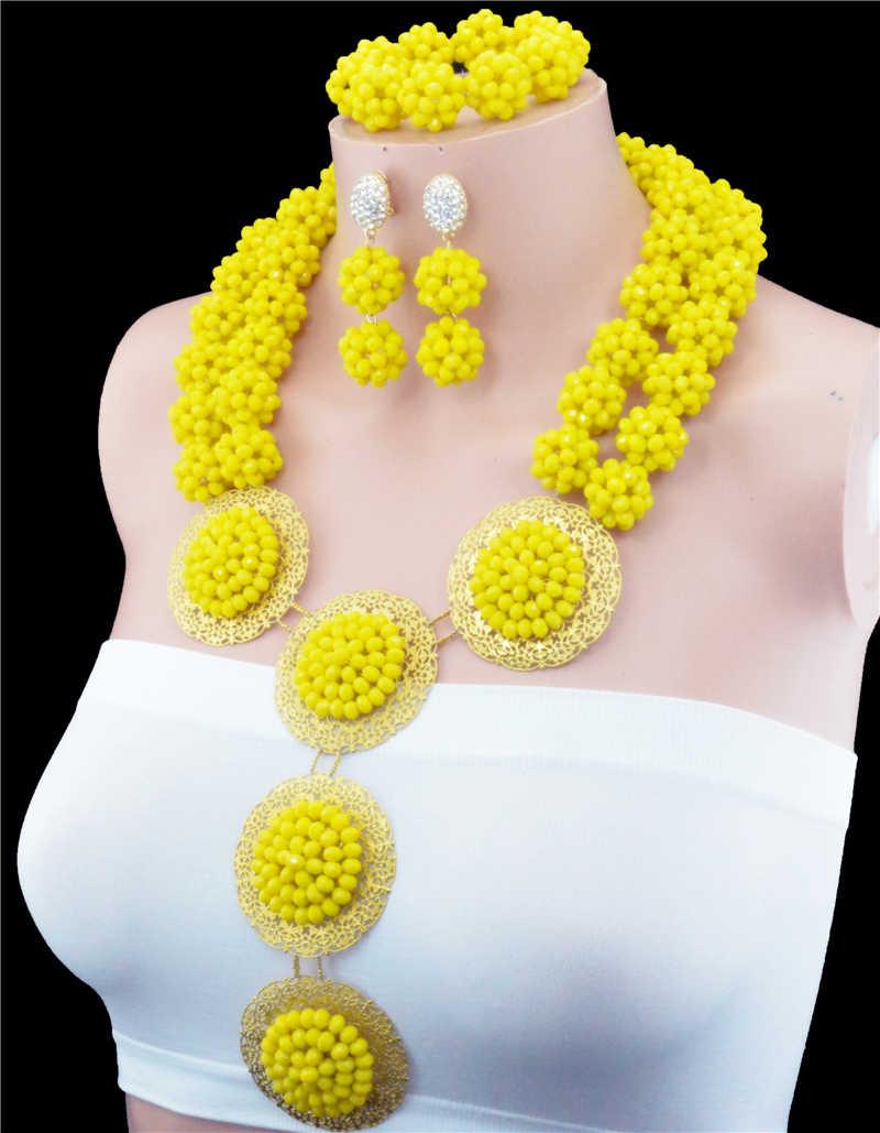 Neueste Mode Zweireihige Crytal Ball Afrikanische Perlen Schmuck Sets Luxus Dunkelblau Nigrican Hochzeit Schmuck-Set