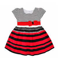Baby Girls Dress Children Costumes New Summer Fashion Bow Stripe Short Sleeve Kids Princess Dresses For