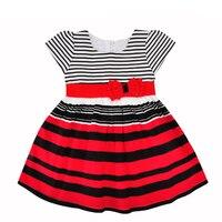 Baby Girls Dress Children Costumes New Summer Fashion Bow Stripe Short Sleeve Kids Princess Dresses For