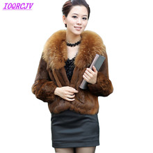 2018 Boutique Rabbit Fur Jackets Women Autumn Winter Large raccoon Fur collar Short Coats Plus size Slim Fur Coats IOQRCJV Q028
