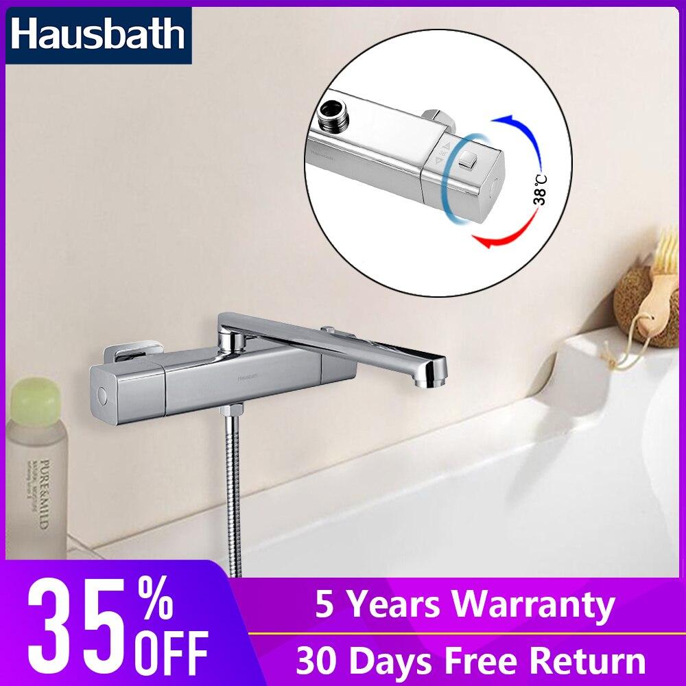 Thermostatic Bath Shower Faucet Set With Long Spout Durable Chrome Finish Thermostatic Mixer Valve Tap Temperature Control auto thermostatic control bath