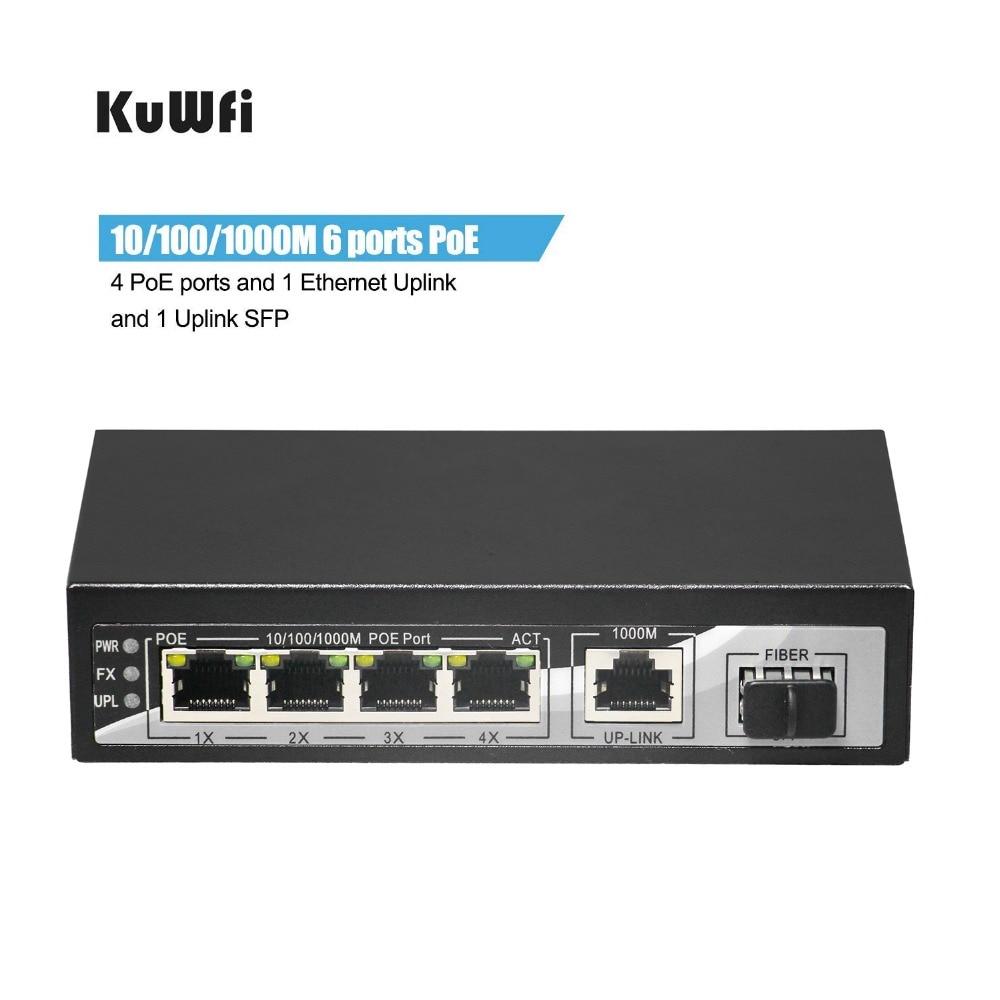 KuWFi Gigabit POE Switch RJ45 Ethernet Network Switch 1000mbps Lan Hub Switch 6Ports With 48V POE  Full Or Half Duplex Exchange